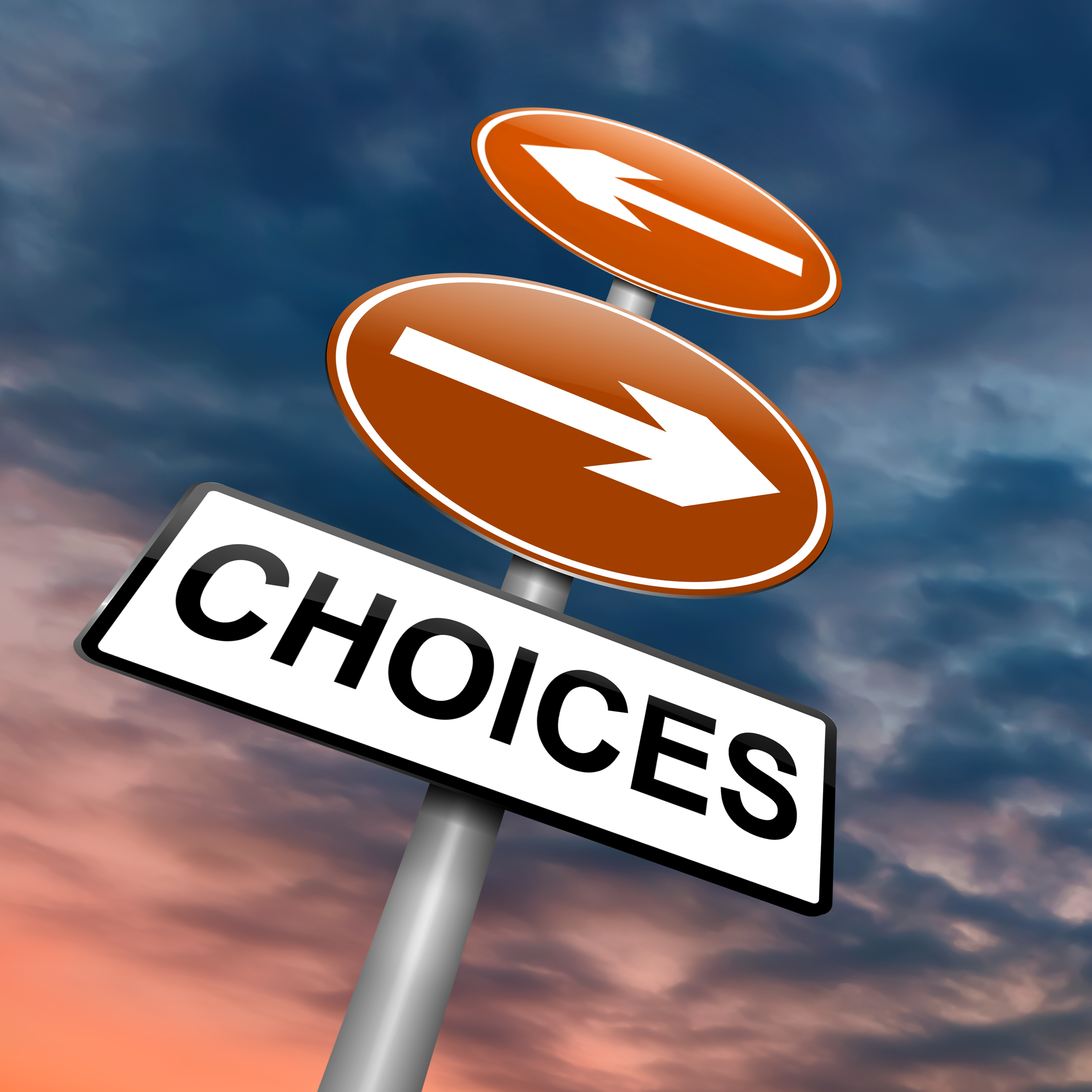 image of a sign showing customer choices